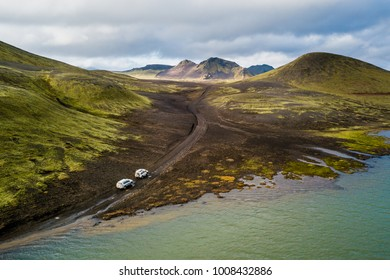 Off road cars after crossing the river on Iceland