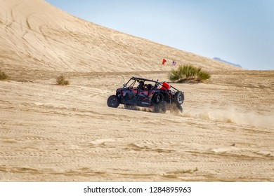 Off Road Dune Buggy riding a sand dune in the Imperial Sand Dunes recreation area.California 19 January 2018