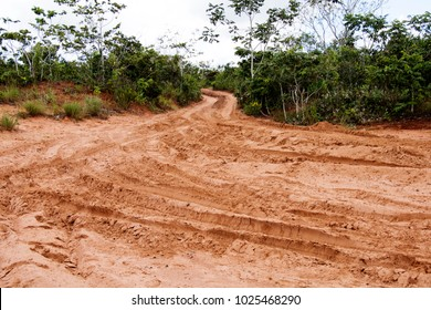 Off road trail at Chapada dos Guimarães,  a city located in central Brazil, 62 km from the city of Cuiaba, the capital of Mato Grosso State. It is the geographic center of South America.