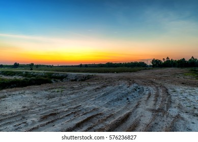 Off road with a twilight background