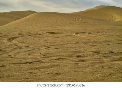 off road vehicle tire tracks in desert sand dunes
