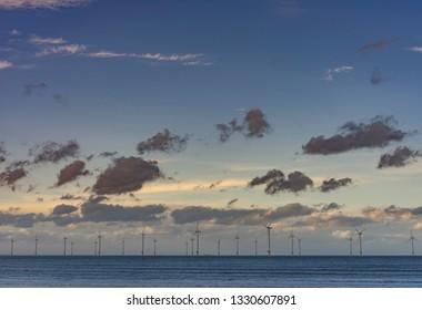 Off shore wind farm. Redcar. North east coast of England.