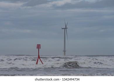 Off shore wind farm at Redcar.