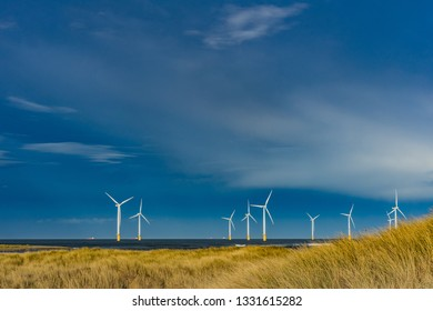 Off shore wind farm. South Gare. Located on the north east coast of England.