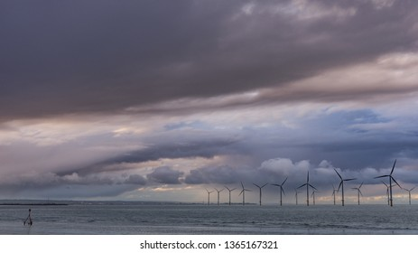Off shore wind turbines at Redcar. North east coast of England.