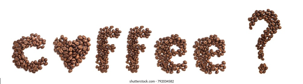 offee Question mark from coffee beans isolated on a white background
