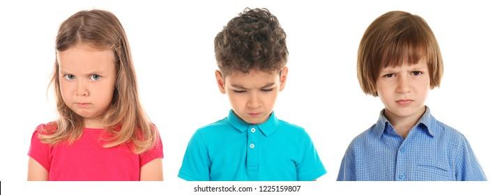 Offend little children on white background