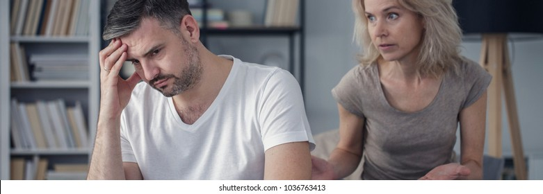 Offended husband and mad wife during conversation about divorce