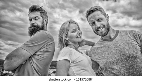 Offended partner still suffers. Girl stand between two men. What do when you feel rejected. Couple and rejected partner. How get over breakup for guys. Ruined relationships. Psychology of breakup.
