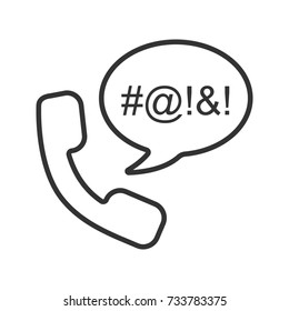 Offensive phone talk linear icon. Thin line illustration. Handset with censored swearing words inside chat bubble. Cursing contour symbol. Raster isolated outline drawing