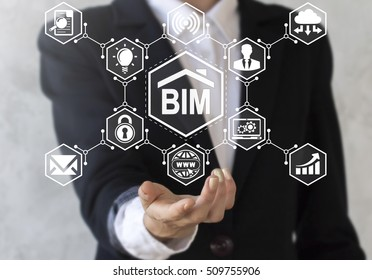 Offer building informatiion modelling icon in hand. BIM sign network hexagon. businessman suggest bim symbol. Build, communication, construction, architecture concept, technology, development, design.