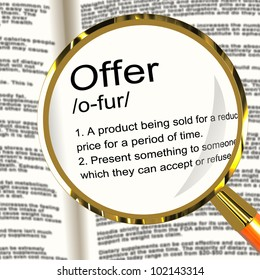 Offer Definition Magnifier Shows Discounts Reductions Or Sales