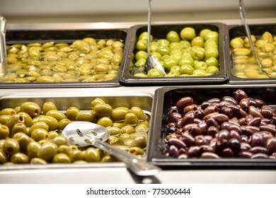 Offer of olives on St. Lawrence Market stall in toronto canada