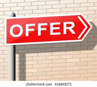 Offer Sign Showing Bargain Prices 3d Illustration