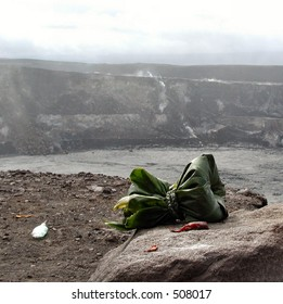 Offering to the volcano goddess Pele at the Kilauea Crater Rim.