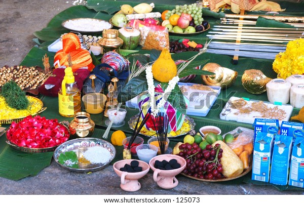Offerings before the Thaipusam Procession
