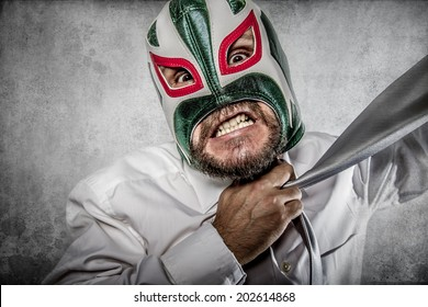 Office, aggressive executive suit and tie, Mexican wrestler mask