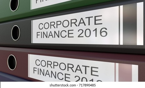 Office binders with Corporate finance tags 3D rendering different years