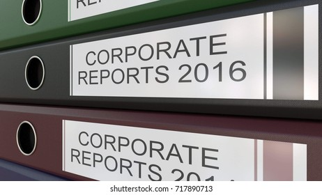 Office binders with Corporate reports tags 3D rendering different years