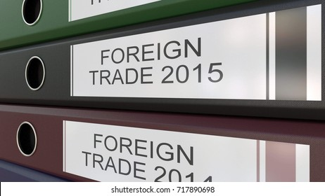 Office binders with Foreign trade tags 3D rendering different years
