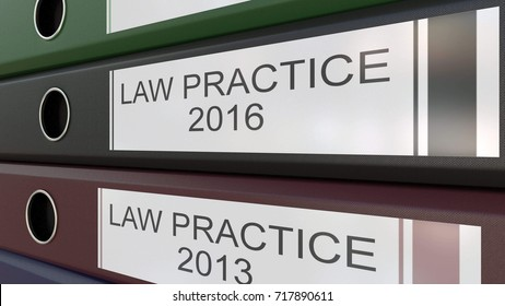 Office binders with Law practice tags 3D rendering different years