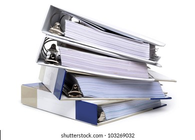 office binders stacked white background