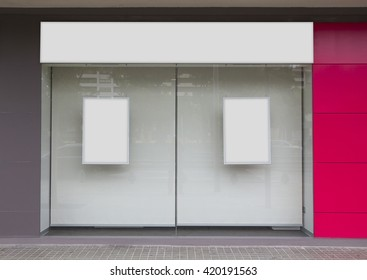 Office with blank showcase, hanging billboard