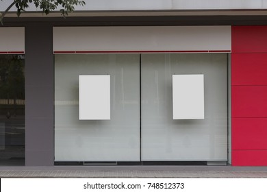 Office with blank showcase mock up