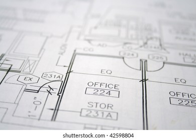 office blueprint with selective focus