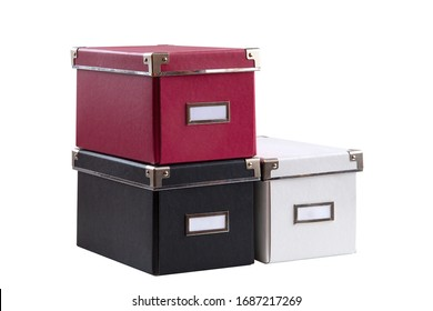 Office boxes on an isolated background in different colors