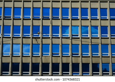 Office building blue glass  reflection detail