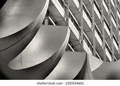 Office building in the city center of Berlin with a concrete element as decoration