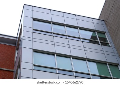 office building corner windows modern perspective facade