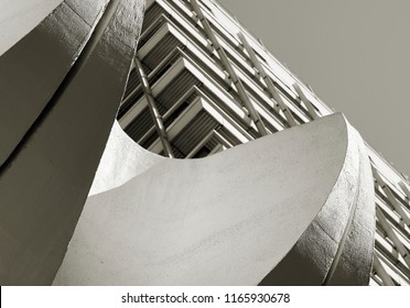 Office building in downtown Berlin with concrete elements in the entrance area as a decoration