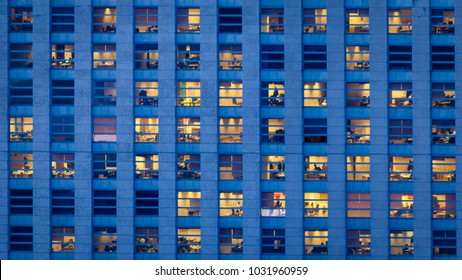 Office building at dusk