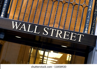 Office building entrance on Wall street in New York city