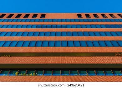Office building facade in Barcelona, Spain