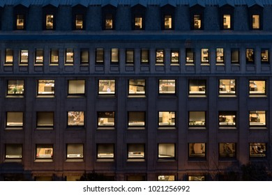 Office building facade at night