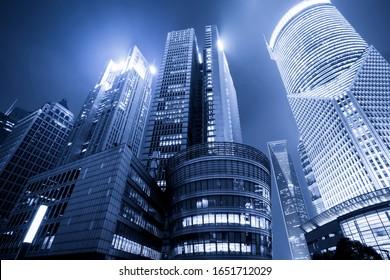 Office building in Lujiazui Business District of Shanghai in blu