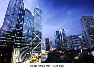 office building at night in hong kong