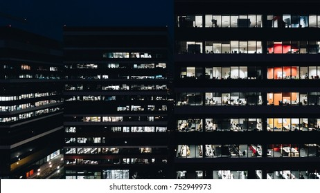Office building at night. Late night overtime