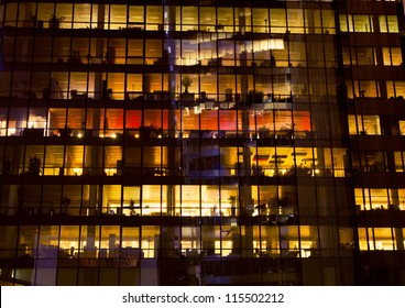 Office building at night, Paris