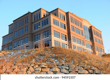 Office Building on a Hill at Sunset