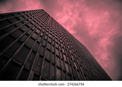 Office building with red clouds