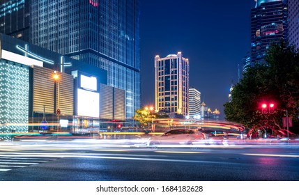 Office building and street night view in Lujiazui Financial Dist