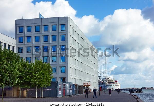 Office building of transport company Maersk on historical sea front of Copenhagen, Denmark.