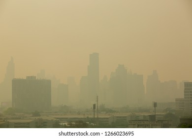 Office building under smog in Din Daeng District, Bangkok Thailand. Smog is a kind of air pollution. Bangkok City in the air pollution.