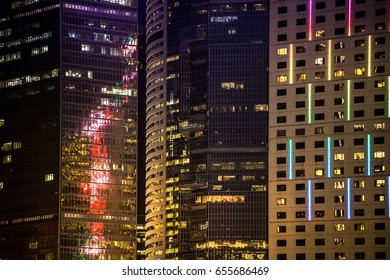 Office building window close up at night