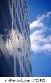 Office buildings against a clear blue sky