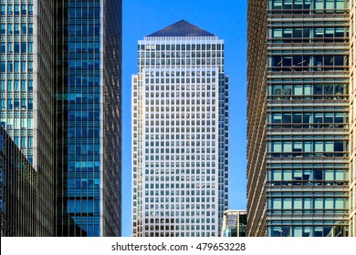 Office buildings in Canary Wharf, financial district of London